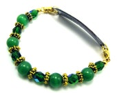 RESERVED - Green and Gold Beaded Medical Bracelet Attachment
