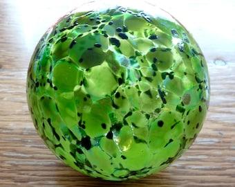 Vintage Hand Blown Glass Art Globe Sculpture, Green Black Ball