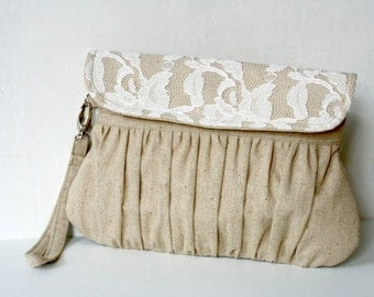 Linen and Lace Clutch - Pleated wristlet clutch