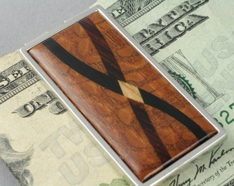 Money Clip Inlaid Wood, Cocobolo, Ebony, or Lacewood with Assorted Hardwood Inlays.  Gift for Husband, Grooms Gifts, Brother, Boyfriend