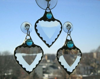 Stained Glass|Stained Glass Suncatcher|Birthstone Suncatcher|Heart|March Birthstone Heart|Aquamarine|Aqua Gem|Aqua|Handcrafted|Made in USA