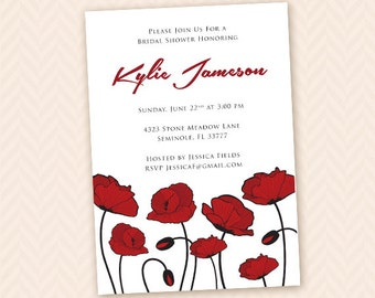 Red Poppy Bridal Shower Invitation