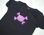 SALE Kitty and crossbones black baby bodysuit embroidered size 12 months