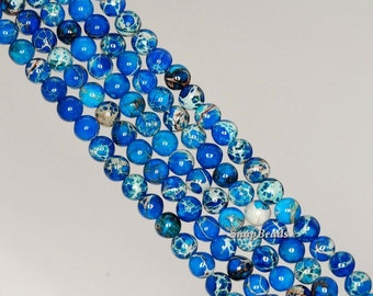 4mm Blue Imperial Jasper Gemstone Grade AA Blue Round 4mm Loose Beads 16 inch Full Strand (90143660-170)