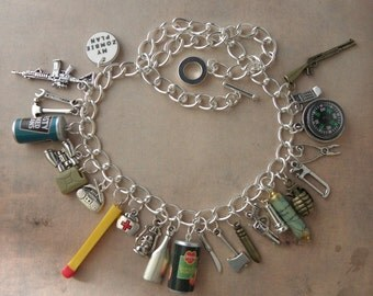 ZOMBIE SURVIVAL KIT Charm Necklace For The Walking Dead Zombie Apocalypse - My Zombie Plan Charms - Zombie Jewelry - Zombie Hunter