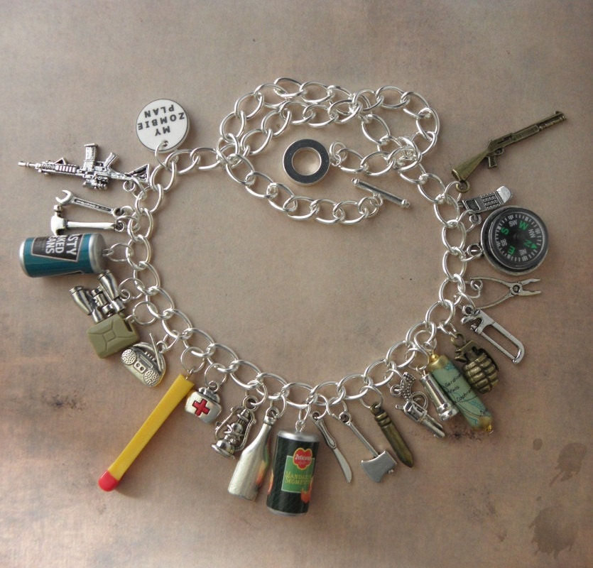 zombie survival kit charm necklace for the walking dead zombie