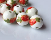 12 mm Red Rose Porcelain Beads (.nm)