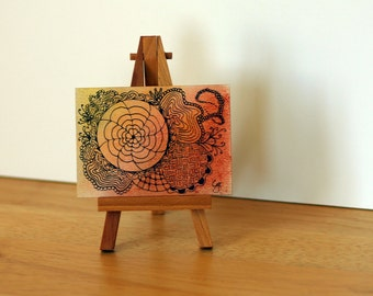 ABSTRACT ACEO - Original Pastel and Ink Zentangle Inspired Art - Miniature Art - Small Format Art