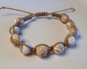 Natural Mother of Pearl Beads on Tan Waxed Cotton Cord Bracelet