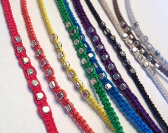 CLEARANCE - Colorful Hemp Bracelets with Silver Cube Beads