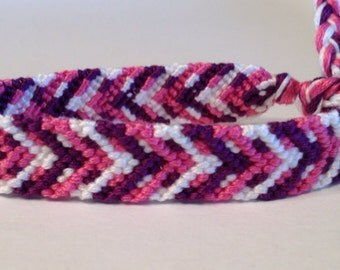 Pink, Purple & White Chevron Links - Friendship Bracelet