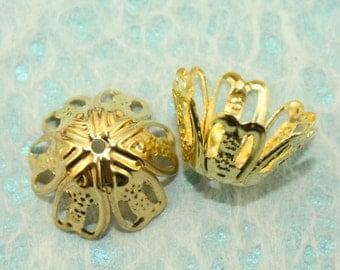 Gold Filigree Iron Bead Cap 15mm (100 pcs) G5