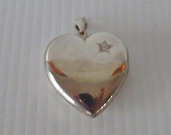 Bold Sterling Silver and CZ Diamond Oversized Heart Pendant, Locket