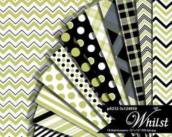 Halloween Digital Paper green and black stripe, Halloween polka dot, chevron scrapbooking paper pack celery : p0212 3s124950C
