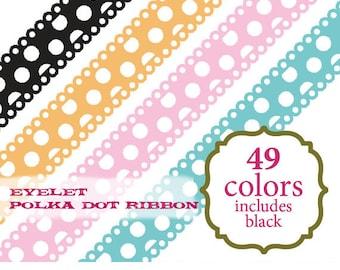Ribbon Clip Art polka dot digital ribbon scrapbooking scallop clipart baby red orange pink blue purple yellow: c0083 v301 black white