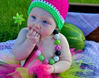 Watermelon Crochet Hat - Picnic Hat - Photo Prop
