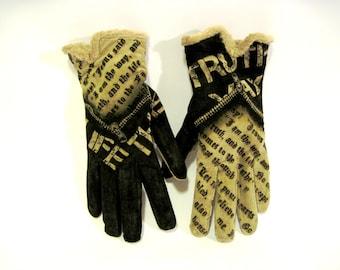 Gloves hand painted, Truth,  John 14-6 Bible Verse, Scripture, winter gloves