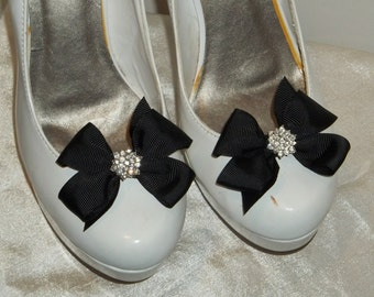 Black Shoe Clips, Girls, Teens, Prom, Dance, Easter, Shoe Clips for Shoes, black grosgrain ribbon bows