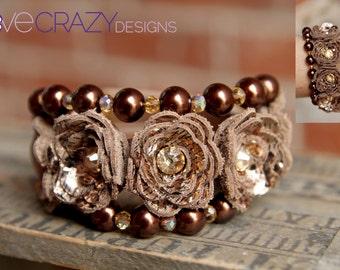 Beaded triple wrap bracelet with leather flowers, womens bracelet, leather wrap