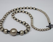 long pearl necklace with antique bronze lace fillagree bead caps, versatile neutral color faux pearl necklace