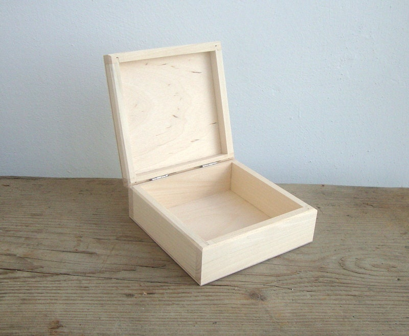 Small wooden box square jewelry box unfinished wood blank for Unfinished wooden boxes for crafts