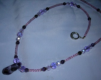 Amethyst pendant, amethyst bead and crystal necklace