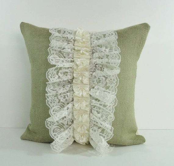 Olive Green Rustic Burlap and Lace Decorative Throw Pillow