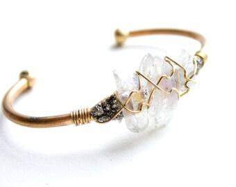 Raw Crystal Pyrite Cuff Bracelet - Adjustable Brass Bangle Wire Cuff Aura Quartz Crystal