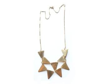 Golden Arrow Mini Breastplate Geometric Necklace in Raw Brass