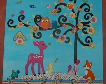 Woodland Canvas for Baby Girl, Nursery Art, Woodland Nursery, Girl Nursery Art, Whisical Art, Girls Room, Little Girls Room Canvas