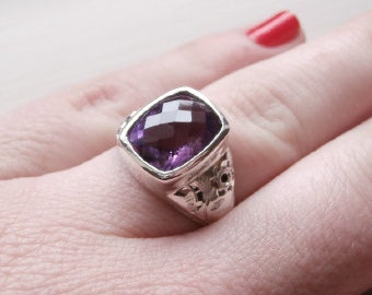 SALE Amethyst Silver Ring Natural Purple Stone Ring Boho Stone Ring Natural Stone Ring- Sterling Silver (925)