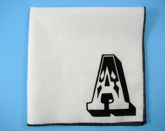 Initial hanky any LETTER YOU CHOOSE shown on super soft white cotton hankie-or choose from any solid color or plaids shown in pics