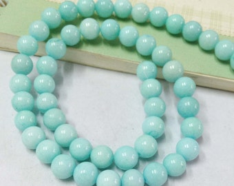 1 Strand 50pcs of Baby Blue Glass Ball Beads Earring Findings 6mm
