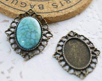 10pcs 18x25mm Antique Bronze Oval Cameo Base Setting Charm Pendant F103-6