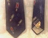 Vintage Wide Swing Era  Silk Necktie Tie Navy Atomic Print Red White and Blue