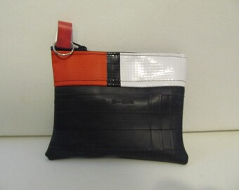 Coin Purse-Recycled Innertube, Recycled Banner, Change Purse, Re-used Signage Wallet