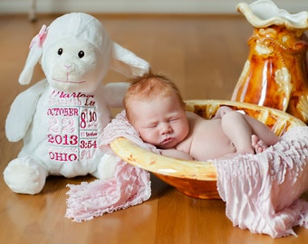 Personalized Stuffed Animal - Birth Announcement Stuffed Animal - Subway Art Baby Gift - Birth Gift for Newborn - Baby Photo Prop