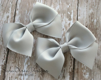 Classic Hairbow, Set of 2 Gray Hairbows, Simple Bows, 3.5 Inch Hairbow, Hair Clip, Pigtail Hairbows, Children's Hair Accessories, Christmas