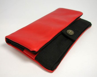 "Wallet, Tobacco pouch,  Mobile Phone pouch ""red nappa leather"""