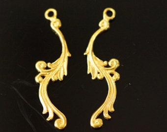 Sold by pairs, 24k gold vermeil, 38x10 mm