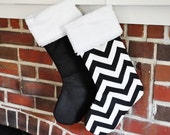 Personalized Christmas Stocking Black and White Chevron Solid no.092 no.082