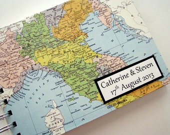 "Italy Honeymoon Travel Journal / Photo Album with Custom Map, 5""x7"""