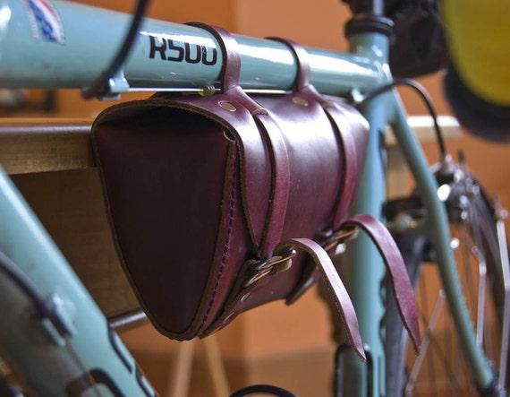 Bicycle Tool Bag : Leather bicycle tool bag crossbar bike seat by