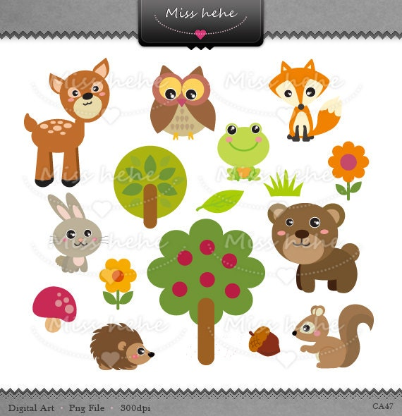items similar to digital clip art little forest animals forest animal clipart black and white forest animals clipart images