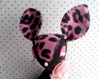 Diva Darling Deer Pink and Black Stuffed Fawn Plush Plushie Soft Softie Stuffed Animal Kawaii Holiday Cute Gift Leopard Print
