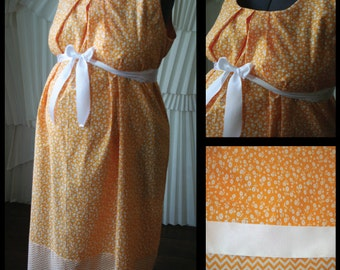 Maternity Hospital Gown-Orange and White Poppy, CHEVRON Band (Labor and Delivery Hospital Gown)