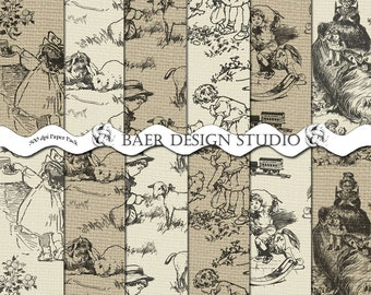 TOILE Background DIGITAL PAPER, Black and Ivory Toile Paper, Black and Tan Toile Burlap Digital Scrapbook Paper, #14040
