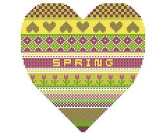 Seasonal Hearts Spring Heart PDF cross stitch pattern