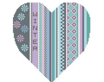 Seasonal Hearts Winter Heart PDF cross stitch pattern