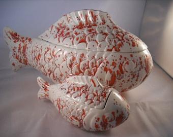Ceramic Chip and Dip Goldfish Koi Set.